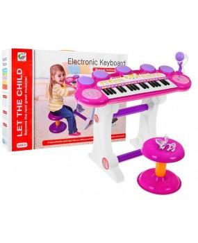 Elektronické  klávesy s MP3 a USB ružové